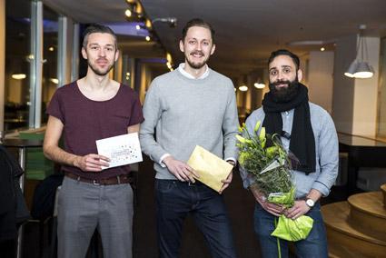 Prisbelönta hackare.  Max Schedin, Poyan Nabati och Tobias Ahlin i Team Ridepulse. Foto: Nobina.