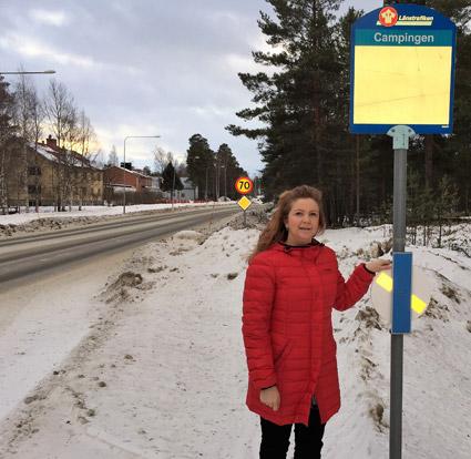 Länstrafiken Västerbotten testar reflexsnurror. Foto: Länstrafiken Västerbotten.
