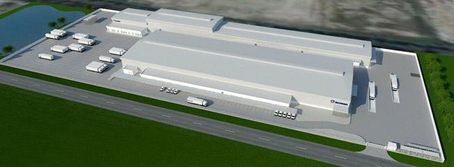 En modell av Scanias kommande, nya monteringsanläggning i Bangkokområdet. Bild: Scania.