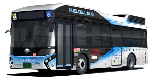 Toyota ska leverera över 100 bränslecellsbussar till Tokyo inför OS 2020. Bild: Toyota.