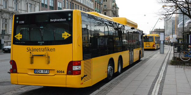En av Bergkvarabuss´ bussar i trafik för Skånetrafiken. Foto: Ulo Maasing.