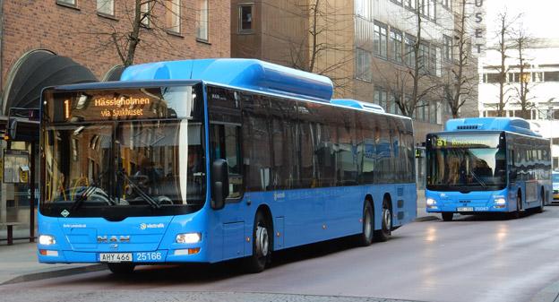 Dagens gasbussar i Brås ska efterhand ersättas av  elbussar. Foto: Ulo Maasing.