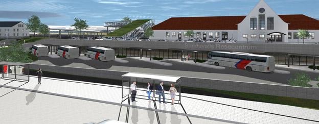 Skiss av det förslag till rezsecentrum i Sundsvall som nu ska utvecklas vidare. Illustration: MAF Arkitektkontor.