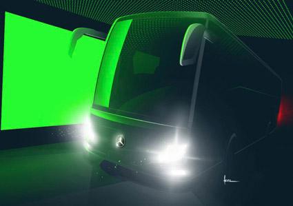 Strikt fotoförbud rådde när Mercedes-Benz på torsdagen gav journalister en smygpresentation av nya generationen av turistbussen Tourismo. Bild: Daimler Buses.