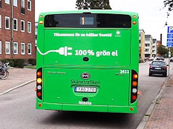 En av Ängelholms batteribussar. Hösten 2018 får Malmö 32 nya elbussar som likt bussarna i Ängelholm ska köras av Nobina. Bild: Nobina.