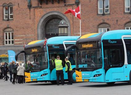 Inför premiären på Danmarks första BRT-linje arrangerades ett evenemang på RTådhusplatsen i Köpenhamn. Foto: Arriva.