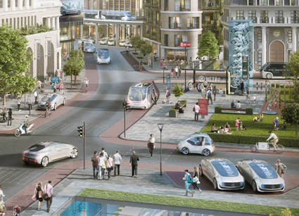 Framtidens mobilitet som Daimler och Bosch ser den. Inom en avgränsad del av en stad kan man använda sin smartphone för att beställa en robotaxi eller en delad bil. Bilen kör sedan förarlöst fram till beställaren som kan stiga in och påbörja sin resa –förarlöst hela vägen. Bild: Daimler.