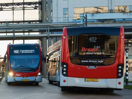 Batteridrivna ledbussar i holländska Eindhoven. Foto: VDL.