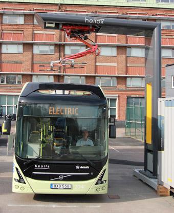 Volvo och Heliox samarbetar om laddinfrastruktur för bussar med OppCharge. Foto: Volvo.