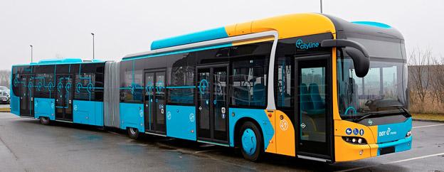 Danmarks första BRT-liknande busslinje invigs snart. Den ska trafikeras av 18,7-meters biogasdrivna ledbussar från MAN med inte mindre än fem dörrar på sidan. Foto: MAN.