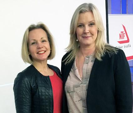 Anna Grönlund tillsammans med NTFs Generalsekreterare Marie Nordén vid NTFs kongress i Stockholm den 25 april.