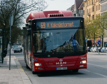 Gsbuss i Stockholms innerstad. När SL bygger ny bussdepå vill man slopa fordonsgas som drivmedel. Foto: Ulo Maasing.