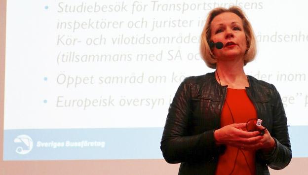 Anna Grönlund, Sveriges Bussföretag, hoppas på en mer flexibel tillämpning av kör- och vilotidsreglerna. Foto: Paula Isaksson.