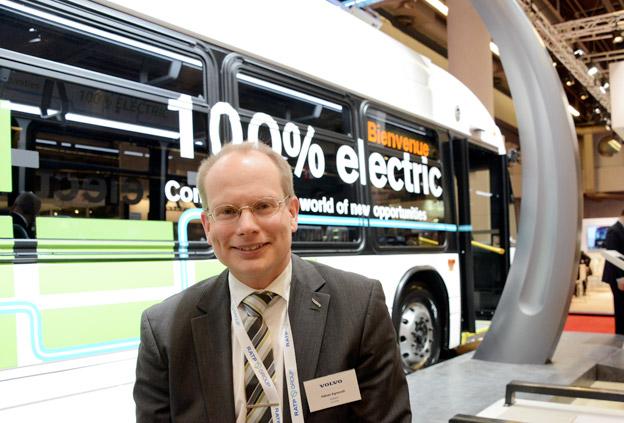 Volvo Bussars vd Håkan Agnevall är på plats på UITP-mässan i Montreal.Där lanserar Volvos dotterbolag Nova Bus sin första helt elektriska buss. Foto: Ulo Maasing.