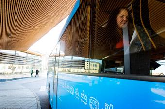 Skolungdomar i Kungsbacka får resa gratis med kollektivtrafiken hela sommaren. Foto: Kungsbacka kommun.