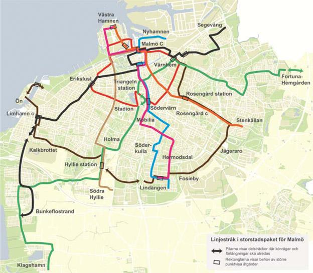 Malmös framtida elektriska klolektivtrafiknät. Karta: Malmö stad.