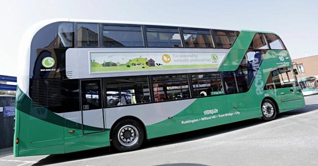 Scania har i samarbete med brittiska ADL fått världens hittills största beställning på biogasdrivna dubbeldäckare. Foto: Nottingham City Transport.