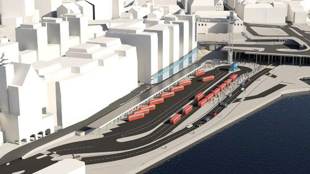 Den tillfälliga bussterminalen på Stadsgårdskajeni Stockholm ska tas i bruk i början av 2018. Slussenprojektet, ELU