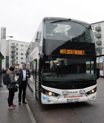 Kommersiella Trosdabussen ska ingå i biljettsamarbetet i Stockholm - Mälardalsregionen. Foto: Ulo Maasing.