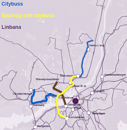 Investeringar i kollektivtrafik för sju miljarder ska göras i Göteborg: citybussar (dvs stomlinjer), spårväg och linbana. Illustration: Göteborgs stad.
