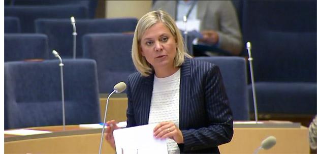 Finansminister Magdalena Andersson(S) i riksdagen på tisdagen.