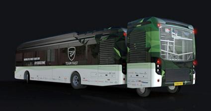 """En rendering av """"myrsyrebussen""""."""