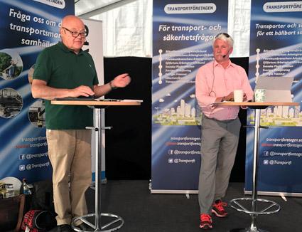 Den kommersiella linjetrafikens situation togs på tisdagen upp vid ett av Sveriges Bussföretags seminarier i Almedalen. Bussföretagens Mikael Persson (till höger) konstaterade att inget har hänt efter fem år med kollektivtrafiklagen. Bussmagasinets Ulo Maasing var moderator.