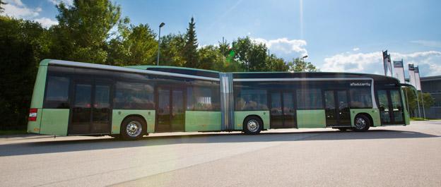 Nästa år kommer MAN att ha batteribussar i fälttest i ett antal städer. Foto: MAN.