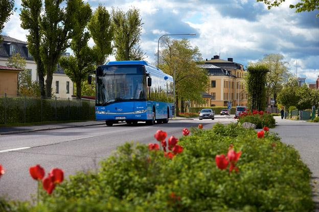 Rekordlinje. Busslinje 6 i Skövde har ökat resandet med 145,5 procent på ett år. Foto: Nobina.