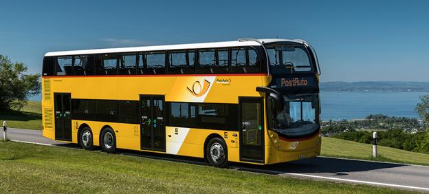 Brittiska ADL går på europeisk offensiv. I år de3ltar man för första gången på Busworld. Där visar man bland annat den här dubbeldäckaren som schweiziska Postauto har beställt i 19 exemplar. Foto: ADL.