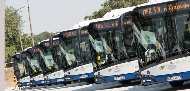 En av de elbussar som Krakow tog emot på onsdagen är den 15 000:e bussen från Solaris.