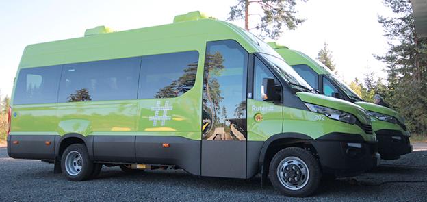 Batteridrivna Iveco minibussar kör skolbarnen i Romerike, norr om Oslo. Foto: Ruter.