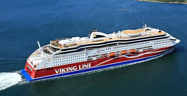 Viking Gracew, som trafikerar rutten Stockholm – Mariehamn – Åbo. Fotyo: Viking Line.