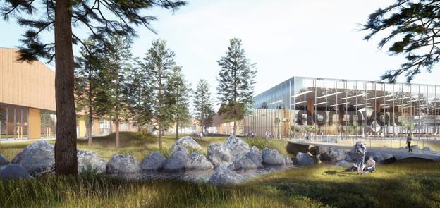 Skiss på hur Europas största batterifabrik kan gestaalta sig. Den kommer att ligga antingen i Skellefteå eller Västerås. Bild: Northvolt.