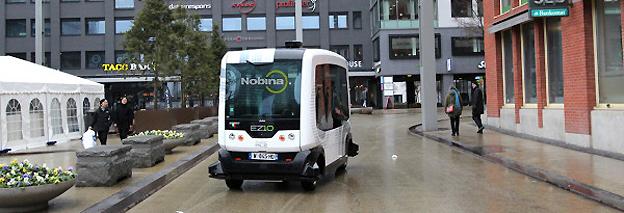 På lördag startar trafiken med förarlös buss i Helsingborg. Foto: Nobina.