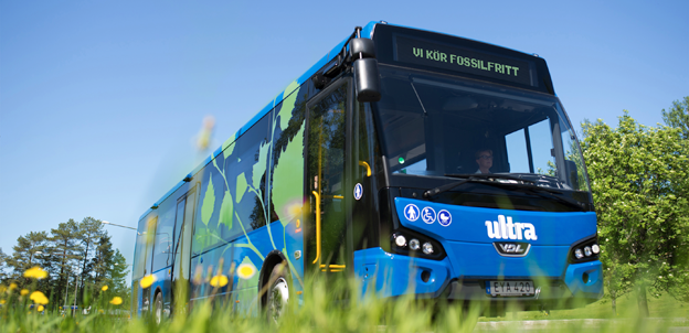 Alla bussar i lokaltrafiken i Umeå kör nu fossilfritt. Foto: Umeå kommun.