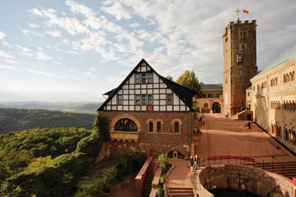 Borgen Wartburg i Eisenach i Thüringen. Foto: Bildarchiv Monheim GmbH.
