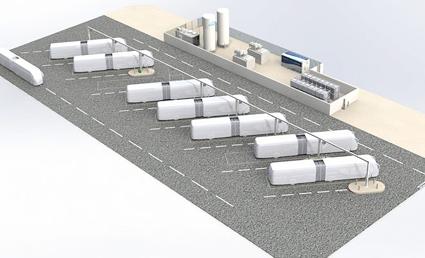 Skiss över den kommande depån och tankanläggningen för de bränslecellsdrivna BRT-bussarna i Pau. vätgasen proiduceras helt fossilfritt och lokalt vid depån. Bild: ITM Power.