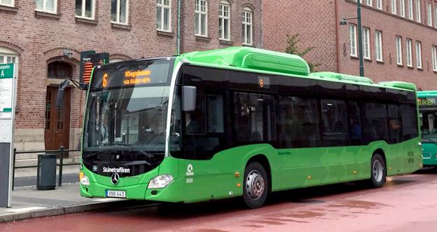 Stora leveranser till Nobina i Malmö och till Bergkvarabuss för upp Mercedes till en överlägsen förstaplats i registreringsstatistiken. Foto: Skånetrafiken.
