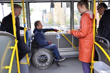 Här testas en stadsbuss i Umeå. Foto: Länstrafiken Västerbotten.