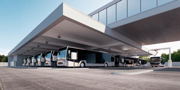 ABB har utvecklat en ny laddstation för depåladdning av batteribussar. Varje modul klarar tre bussar som laddas automatiskt i tur och ordning. Bild: ABB.
