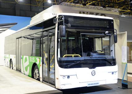 Även Golden Dragon hade en helt elektrisk stadsbuss i sin monter. Foto: Ulo Maasing.