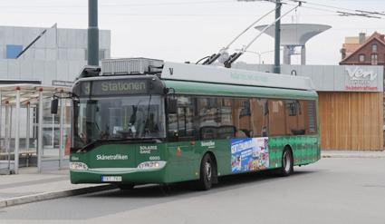 Sveriges enda trådbusslinje, linje 3, är den mest utnyttjade linjen i Landskrona. Foto: Ulo Maasing.