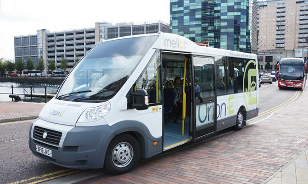 Mellor Orion E, en batteribuss med genomgående låggolv för bland annat servicelinjer. Bilden visar en demobuss. Det slutliga utseendet kommer att visas först på Busworld i Kortrijk. Foto: Ulo Maasing.