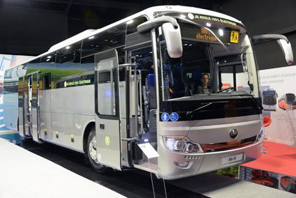 Yutong visade också en elbuss avsedd för intercitytrafik. Foto: Ulo Maasing.