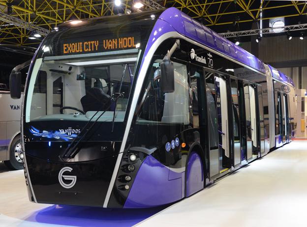 Den första bussen till Glider i Belfast visades nyligen på Busworld i Kortrijk. Foto: Ulo Maasing.