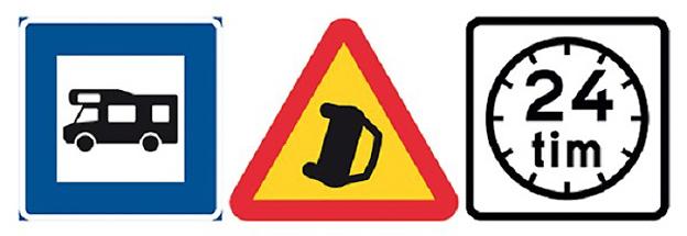 Nya vägmärken från 1 december. H 28 anger husbilsplats, A41 varnar för olycka och T25 anger servering eller restaurang som är öppen dygnet runt.